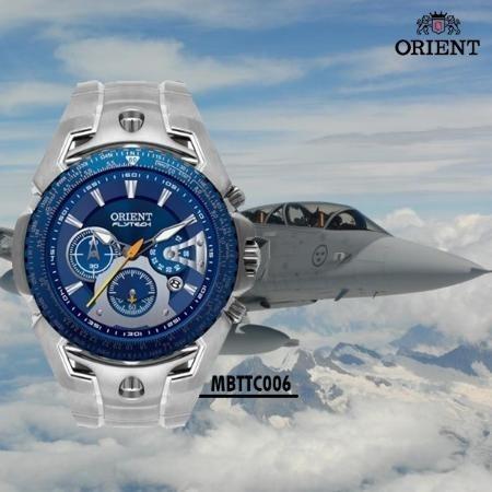 5dd6d01af00 Relógio Orient Flytech Titanium Mbttc006 D1sx Fundo Azul - R  986
