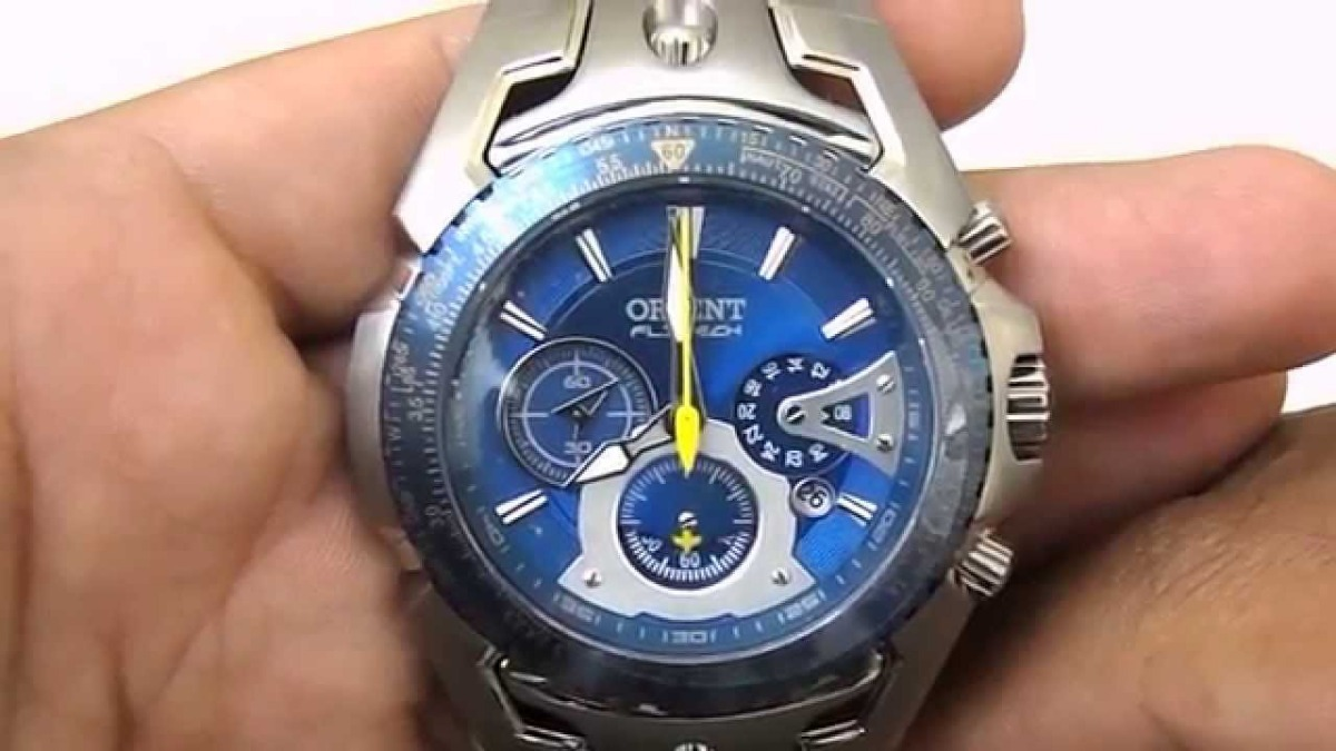 d09d56838a9 relógio orient flytech titanium mbttc006 d1sx fundo azul. Carregando zoom.