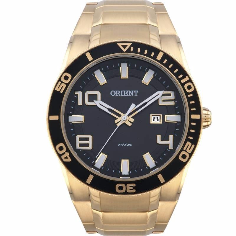 f0ddb1c8c1540 relógio orient grande masculino análogo dourado mgss1071. Carregando zoom.