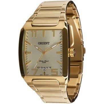 Relógio Orient Masc Quadrado Ggss1007 C2kx Fundo Dourado - R ... 21cb6d80f4