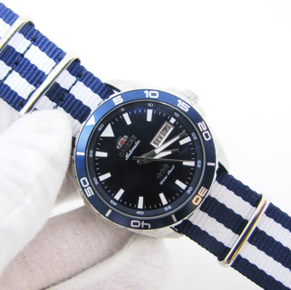 2190ed61497 relógio orient masculino 469ss064 com pulseira nato azul. Carregando zoom.
