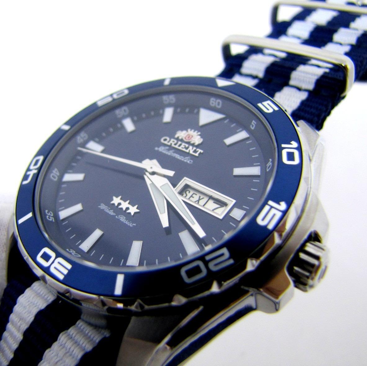 9b28f249e41 Relógio Orient Masculino 469ss064 Com Pulseira Nato Azul - R  498