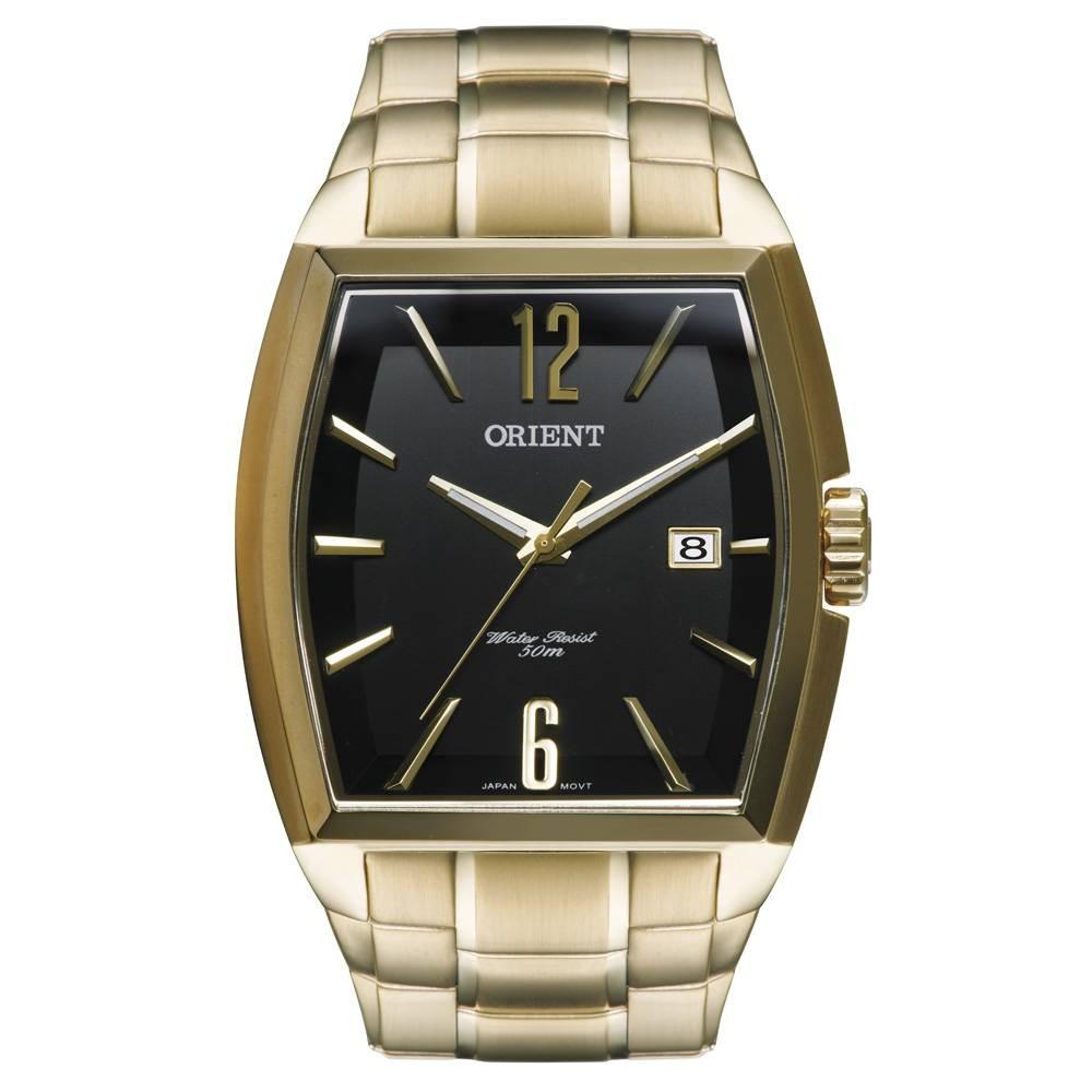 80c2038c60a Relógio Orient Masculino Grande Quadrado Dourado Ggss1014 - R  558 ...