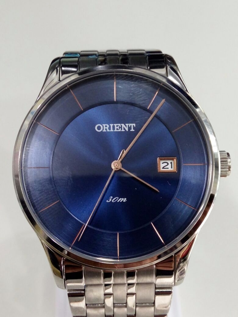 bcad3831e37 relógio orient prata masculino fundo azul c  rosê mbss1293 · relógio orient  masculino. Carregando zoom.