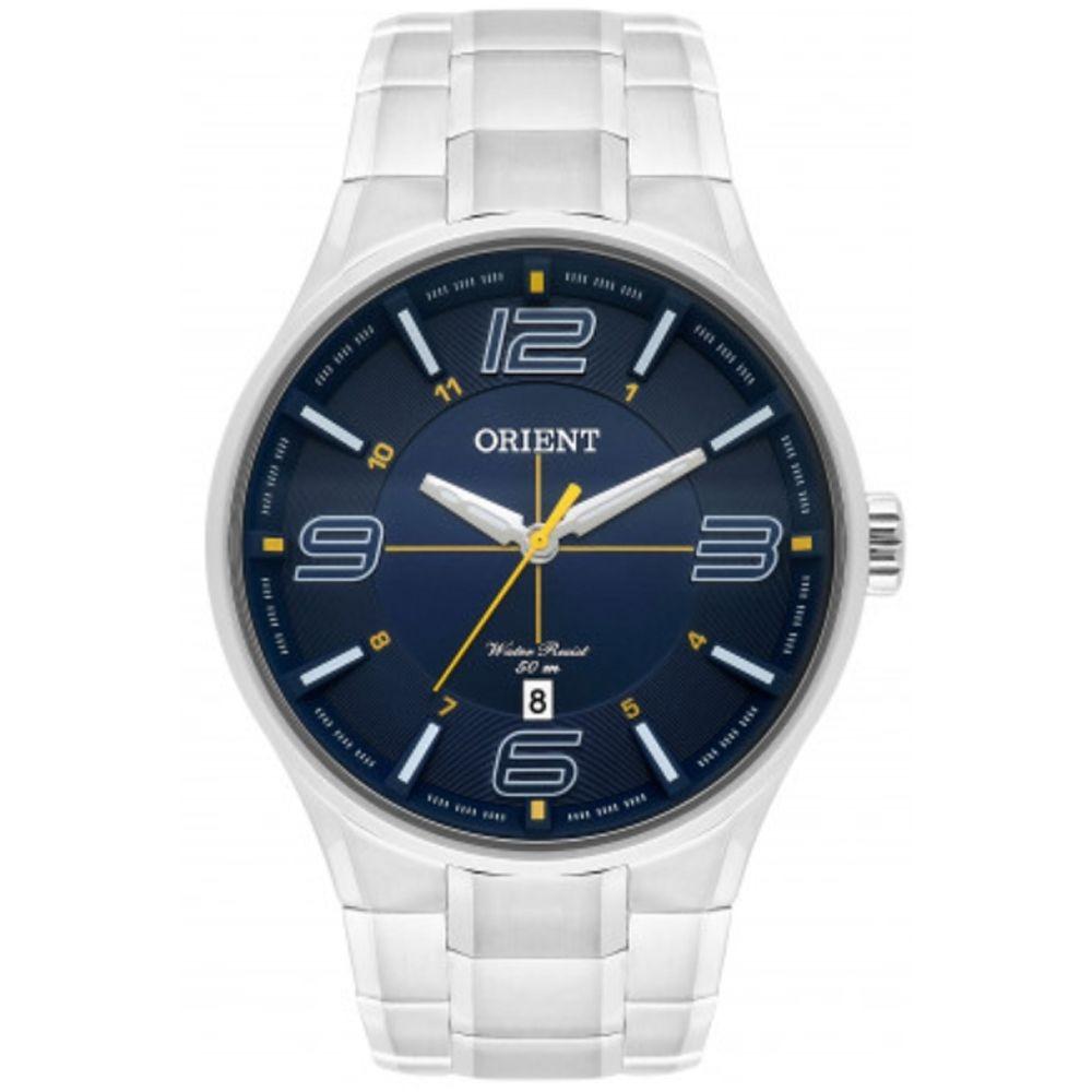 1b66f2485 relógio orient masculino aço prata visor azul mbss1307 d2sx. Carregando  zoom.