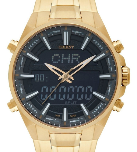 relógio orient masculino anadigi dourado -mgssa003 p1kx