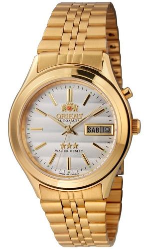 relógio orient masculino automático em03 b1kx dourado ouro