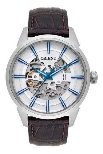 relógio orient masculino automático nh7sc001 esqueleto couro