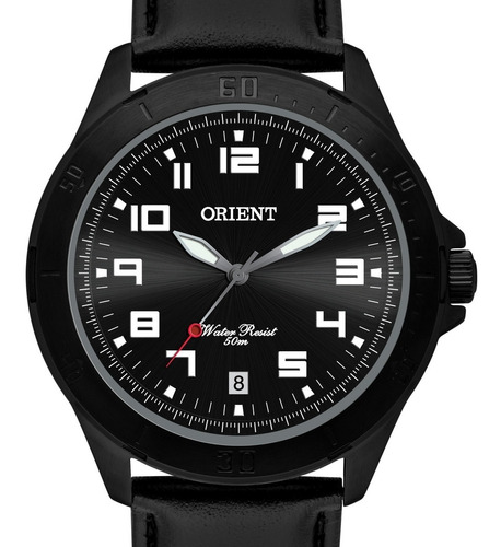 relógio orient masculino  couro preto - mpsc1008 p2px