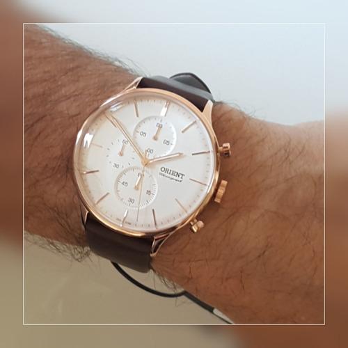 relógio orient masculino cronógrafo couro  - mrscc014 s1nx
