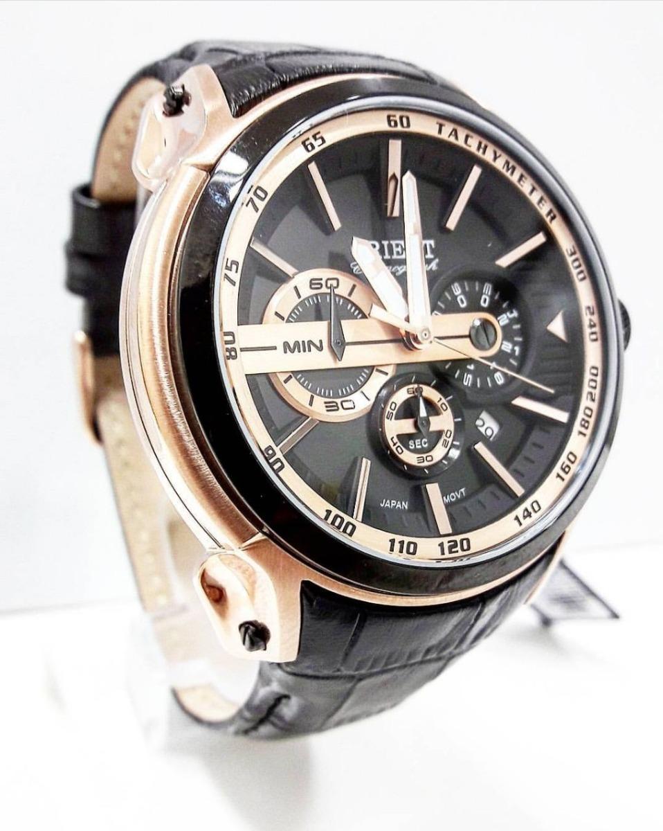 8a6e090d5f8 relógio orient masculino cronógrafo mrscc015 pulseira couro. Carregando zoom .