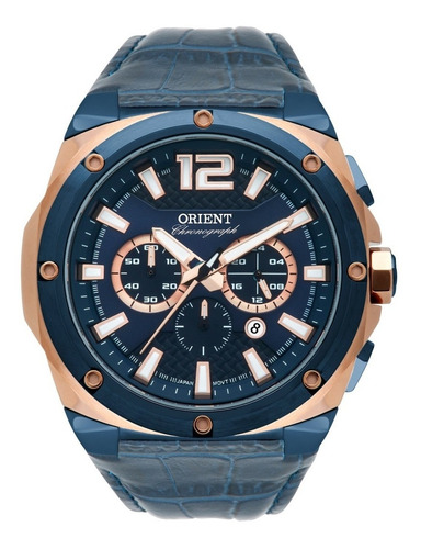 relógio orient masculino cronógrafo mtscc031 d2dx azul couro