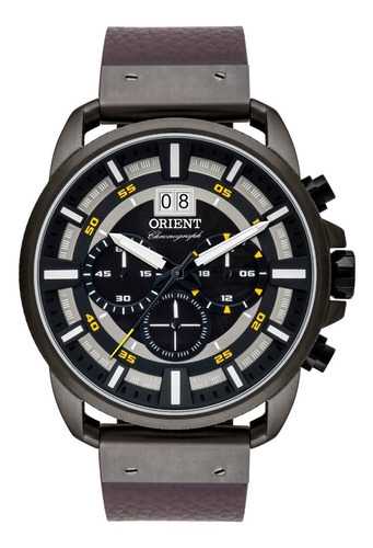 relógio orient masculino cronógrafo myscc007 p1nx grafite