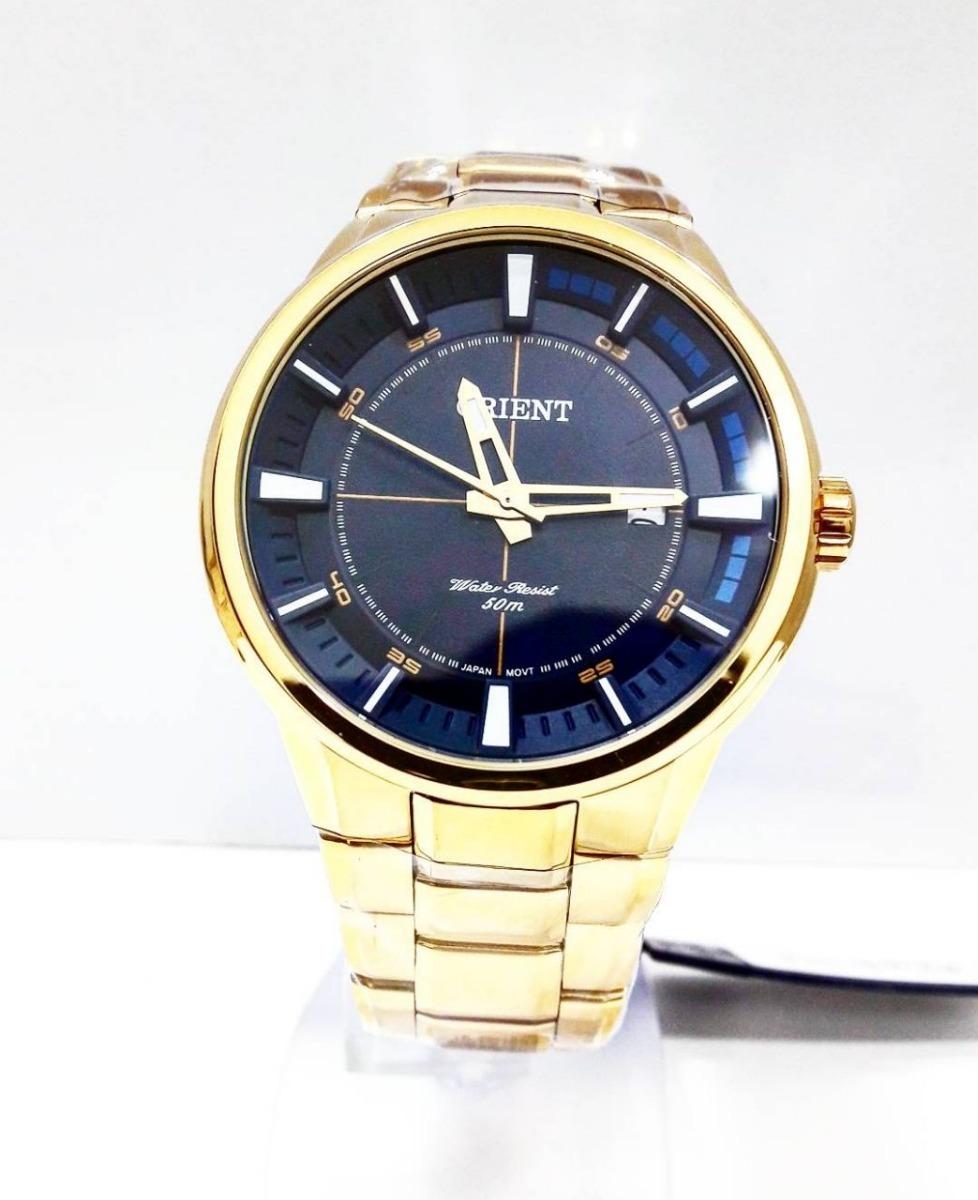 80c86f8135d relógio orient masculino dourado e azul mgss1137. Carregando zoom.