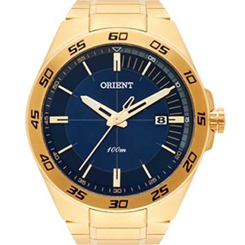 8be8a03b101 Relógio Orient Masculino Dourado Fundo Azul Mgss1132 - R  349