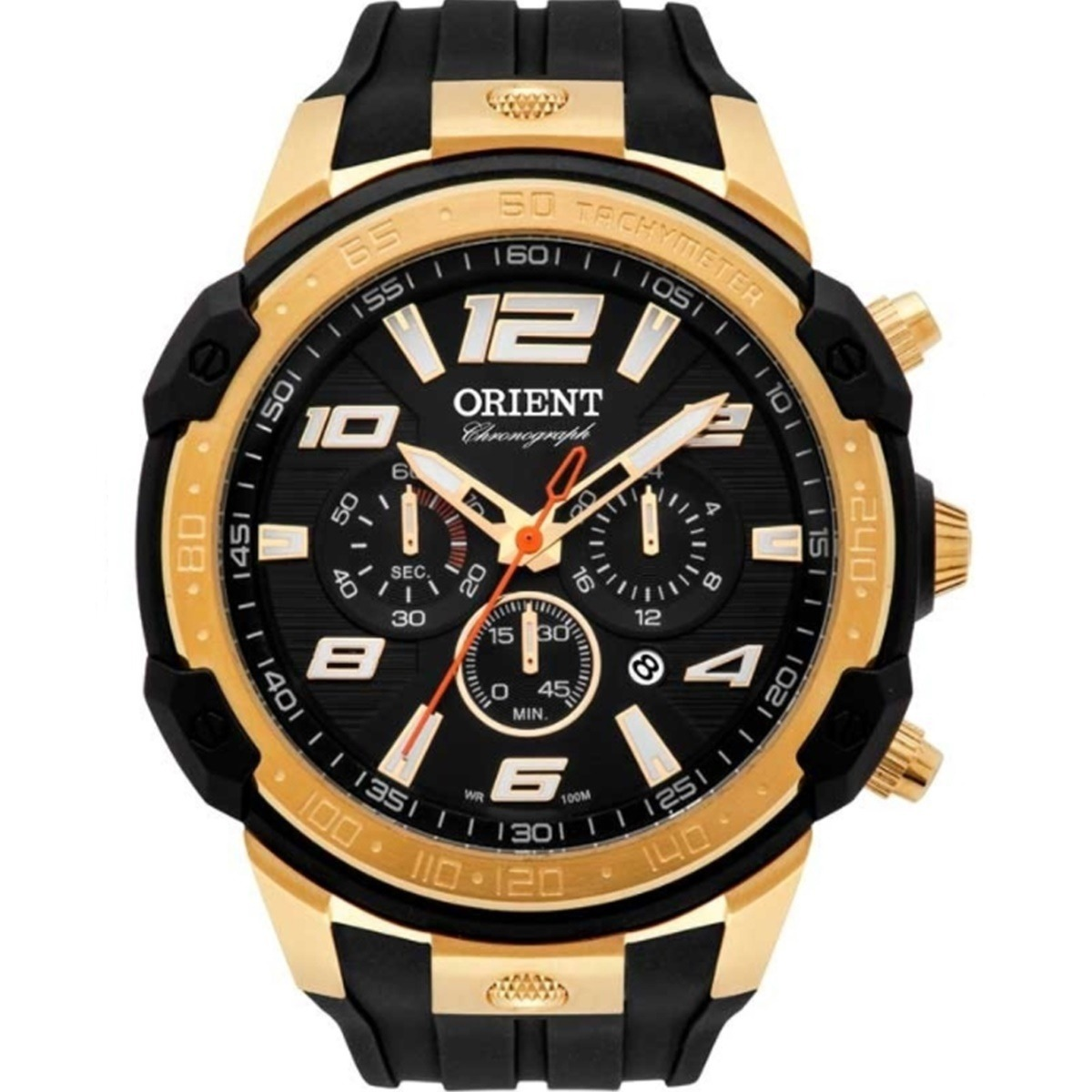 34fcf19eedd relógio orient masculino esportivo preto e dourado mgspc004a. Carregando  zoom.