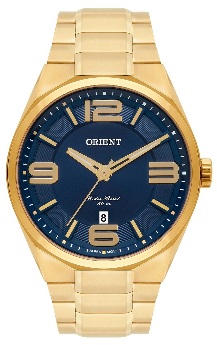 2b537d0d116 relógio orient masculino mgss1151 d2kx dourado azul aço. Carregando zoom.
