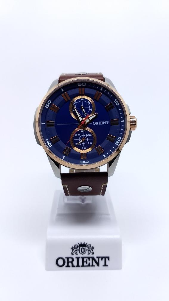 e9df23014c0db relógio orient masculino mtscm004 d1mb azul rose couro aço. Carregando zoom.