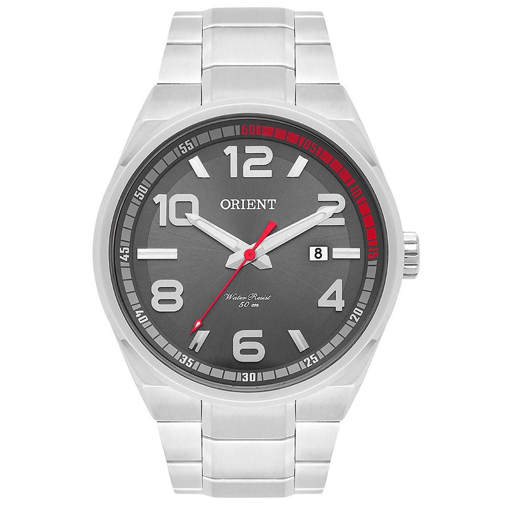 aa3287962f5 relógio orient masculino prata visor grafite mbss1302 g2sx. Carregando zoom.