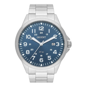 Relógio Orient Masculino Prateado Fundo Azul