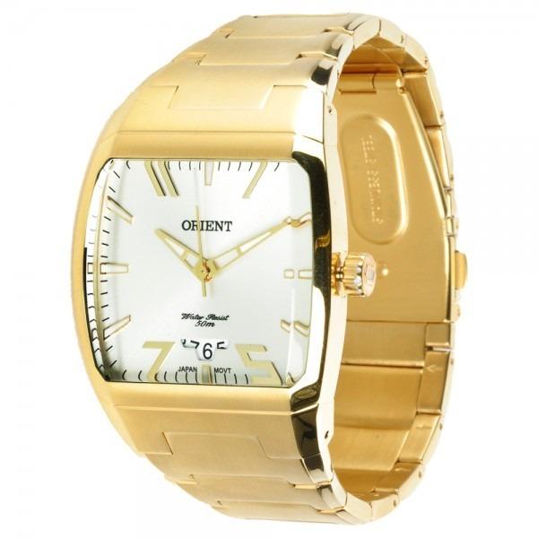1b10e6e0b18 Relógio Orient Masculino Quadrado Dourado Aço Ggss1008 S1kx - R  395 ...