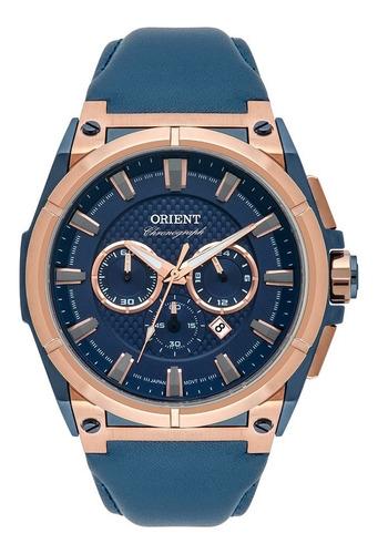 relógio orient masculino rosê couro mtscc033 d1dx