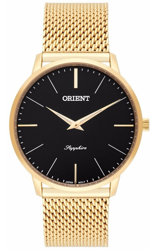 relógio orient masculino slim mgsss005 p1kx safira dourado