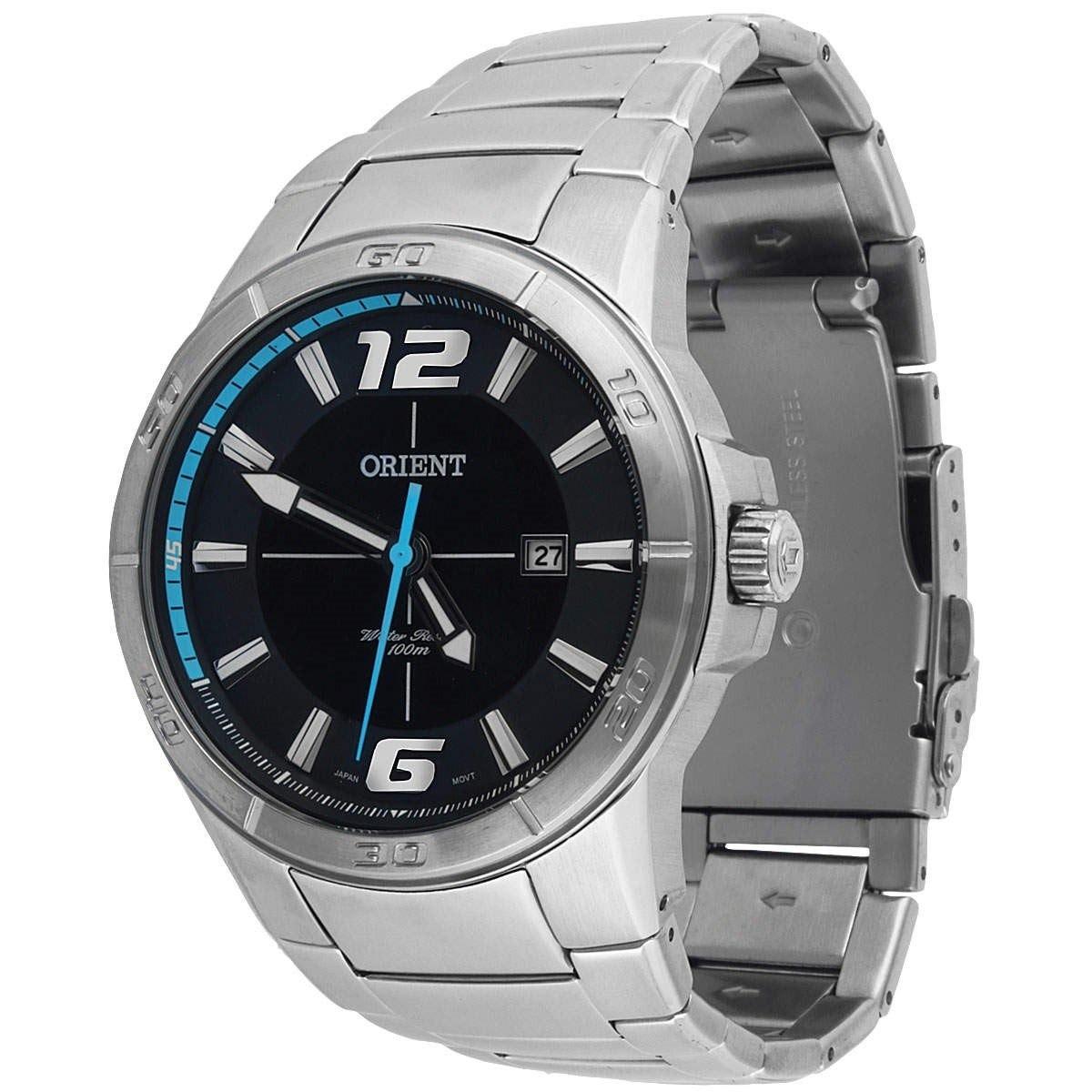 ba3157affa1 relógio orient mbss1249 mostrador preto masculino 100m. Carregando zoom.