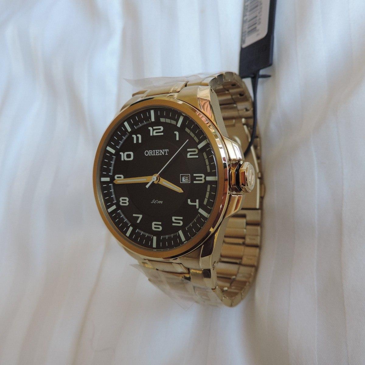 9c5f5bd437f relógio orient mgss1125 masculino visor preto dourado belo. Carregando zoom.