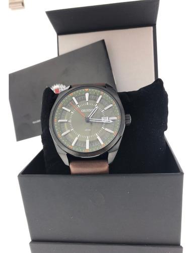 relógio orient mpsc1007 pulseira couro mostrador verde claro