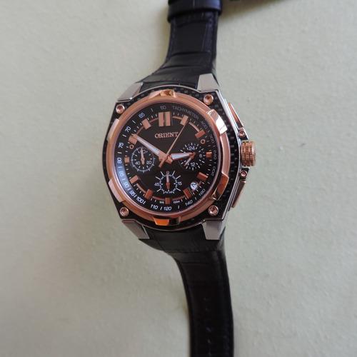 relógio orient mrscc002 masculino cronógrafo pulseira couro