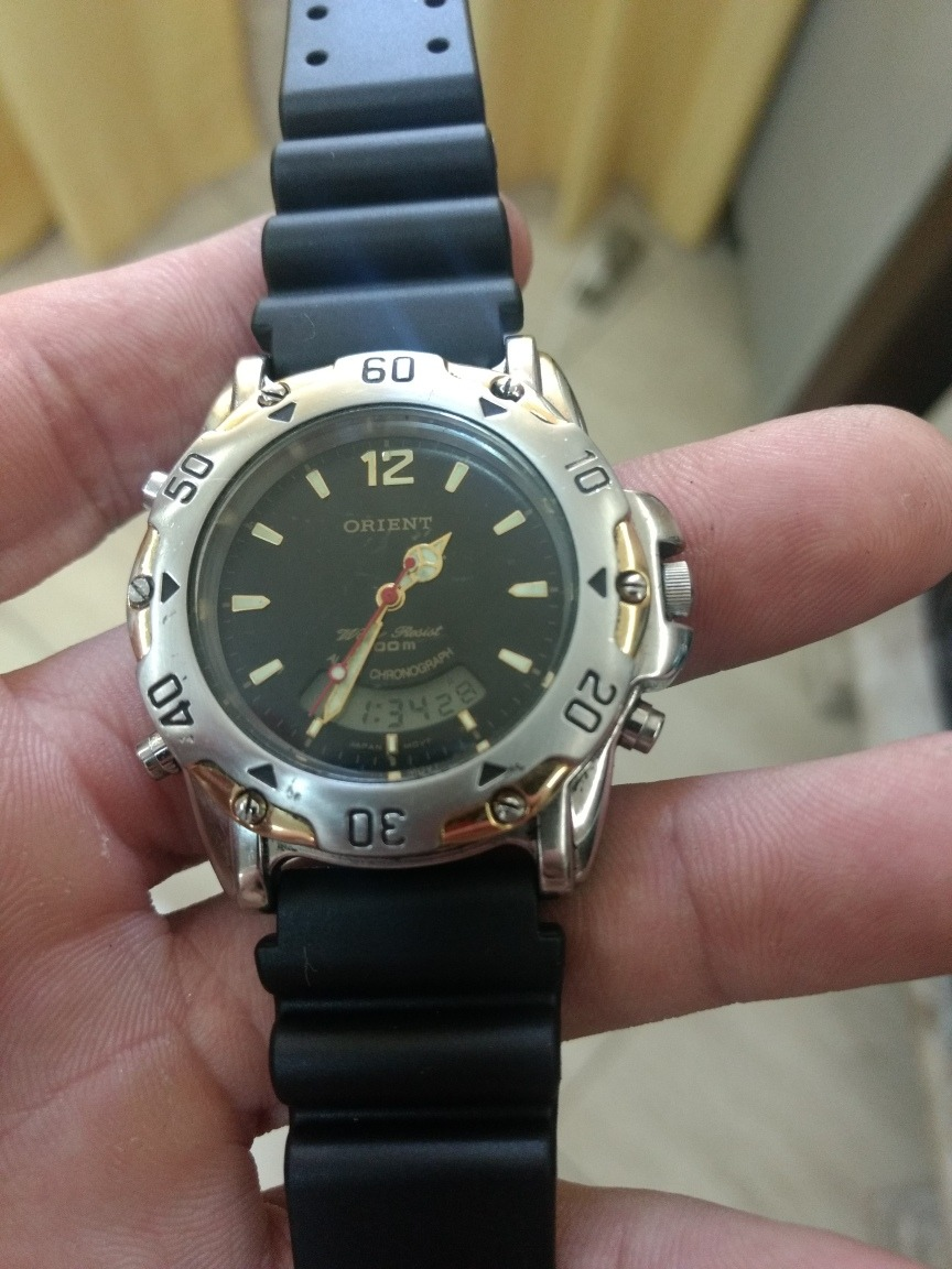 59ab49f94e8 Relógio Orient Mtssa 001 Funciona Tudo ! Impecavel - R  220
