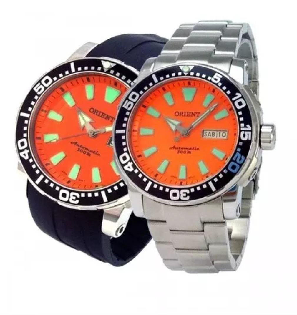 5874a004e24 relógio orient scuba diver automático com 2 pulseiras 300m. Carregando zoom.