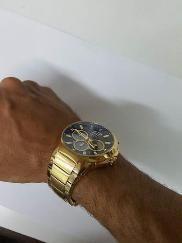 relógio orient solar dourado masculino cronógrafo - mgssc017