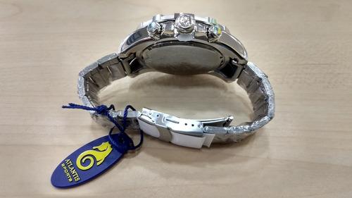 relógio original atlantis aço masculino estilo technos legac