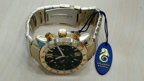 relógio original atlantis dourado a3310gp