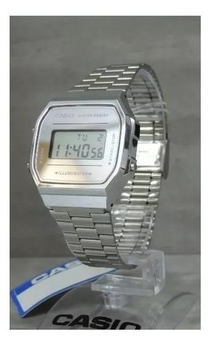 relogio original casio digital unissex prata fundo prataa168