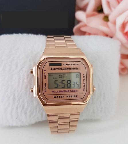 relogio  original de luxo rosa com dourado promocao