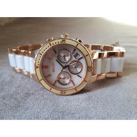 Relógio Original Donna Karan Dourado E Branco Em Cerâmica