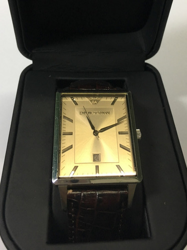 relógio original empório armani pulseira couro marrom usado
