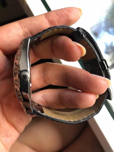 relógio original euro eu2035fr/6p pulseira couro com strass