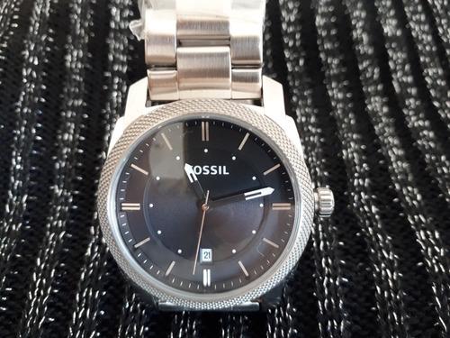 relógio original fossil prata aro estriado fundo preto