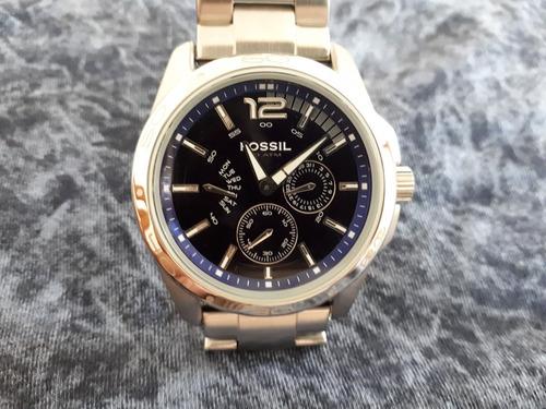 relógio original fossil prata fundo azul ametista