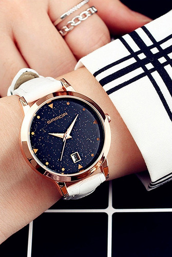 relógio original importado feminino casual luxo couro branco