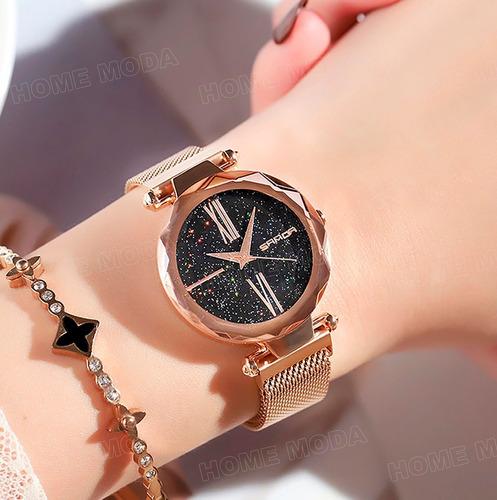relógio original importado feminino elegante luxo rosê
