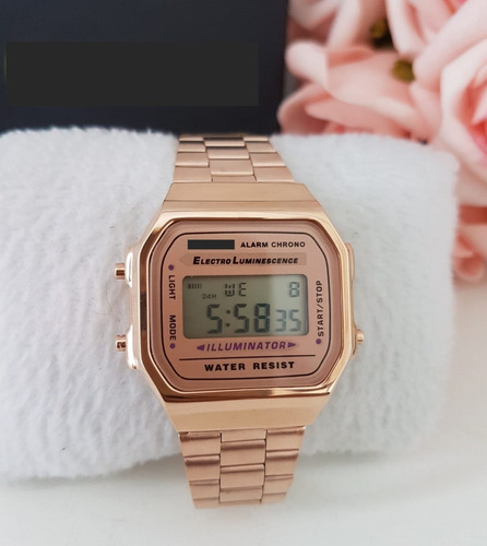 relógio  original moda vintage dourado/preto/rouse