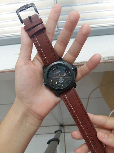 relógio original naviforce couro