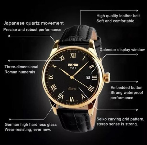 relógio original pulseira de couro de luxo preto com dourado