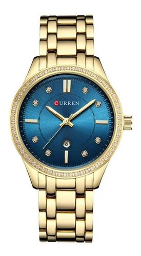 relógio original quartz curren com resistência água  9010
