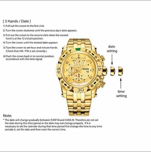 relógio original quartz temeite masculino à prova d' água